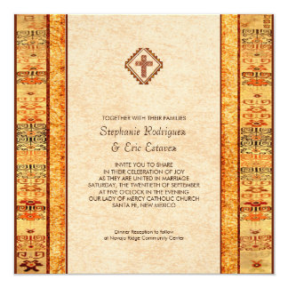 Aztec Fiesta Christian Cross Square Wedding 5.25x5.25 Square Paper Invitation Card
