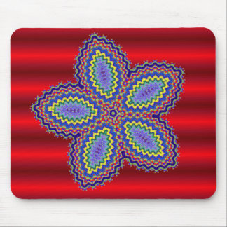 Aztec Flower w/Vibrant Red Background Mouse Pad