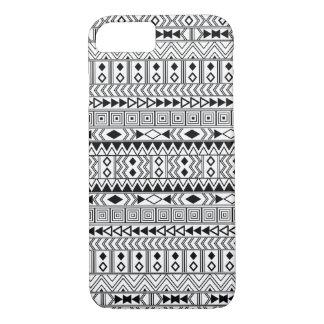 Aztec Geometric Black  pattern on White iPhone 7 Case