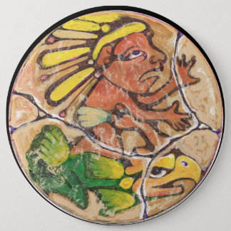 Aztec God colour - Amazing Mexico Magnet 6 Cm Round Badge