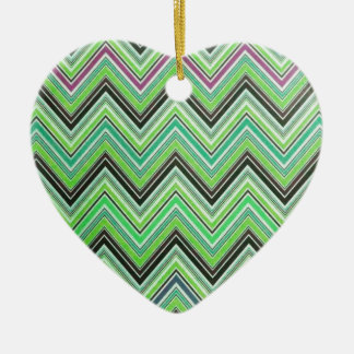 Aztec Green Purple Black Chevron Girly Pattern Ceramic Heart Decoration