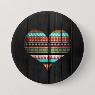 Aztec heart 7.5 cm round badge