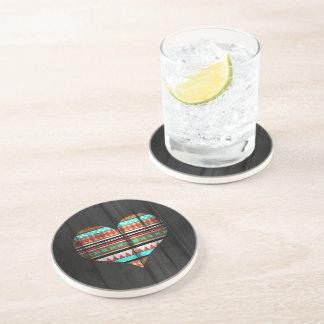 Aztec heart drink coaster