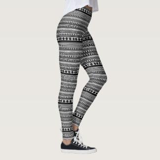 Aztec in Black and White Leggings