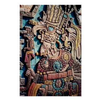 Aztec Inca Indian High Priest Pyramid Art Poster