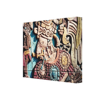 Aztec Indian High Priest Carving Wrapped Canvas