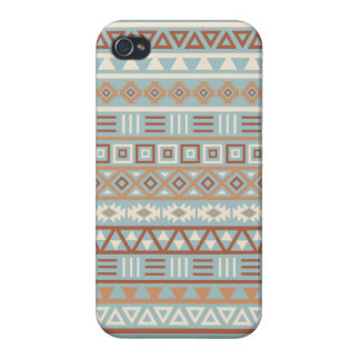 Aztec Influence Pattern Blue Cream Terracottas Case For The iPhone 4