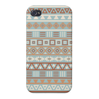 Aztec Influence Pattern Blue Cream Terracottas iPhone 4/4S Case