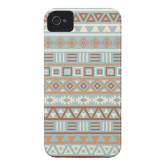 Aztec Influence Pattern Blue Cream Terracottas iPhone 4 Case