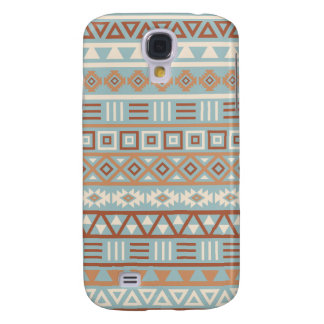 Aztec Influence Pattern Blue Cream Terracottas Samsung Galaxy S4 Cover