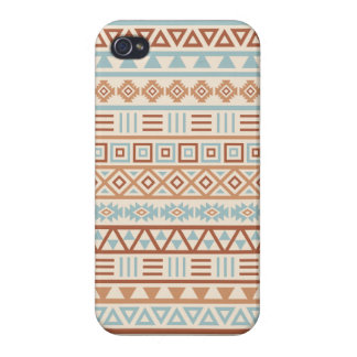 Aztec Influence Pattern Cream Blue Terracottas Covers For iPhone 4