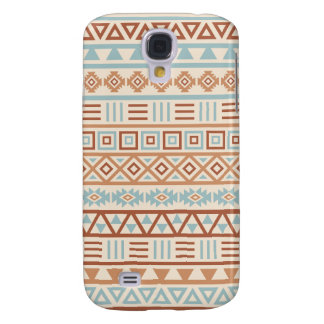 Aztec Influence Pattern Cream Blue Terracottas Galaxy S4 Covers