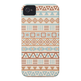 Aztec Influence Pattern Cream Blue Terracottas iPhone 4 Cover