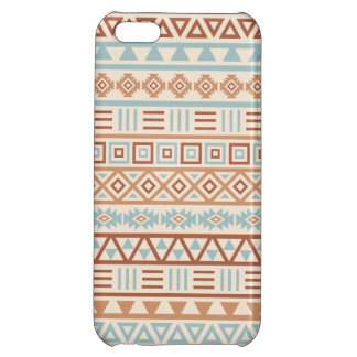 Aztec Influence Pattern Cream Blue Terracottas iPhone 5C Cases