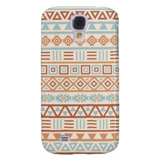 Aztec Influence Pattern Cream Blue Terracottas Samsung Galaxy S4 Cover