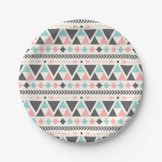 Aztec Inspired Coral and Mint Pattern 7 Inch Paper Plate