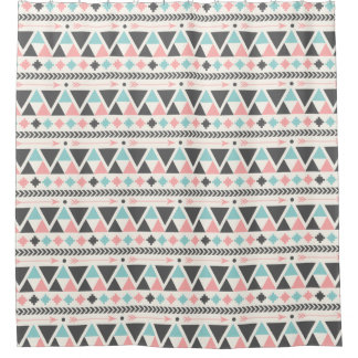 Aztec Inspired Coral and Mint Pattern Shower Curtain