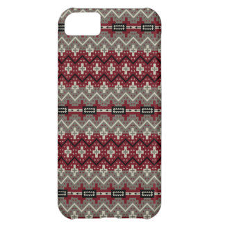 Aztec Inspired Maroon and Grey iPhone 5C Case