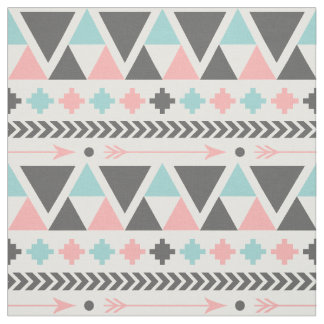 Aztec Inspired Mint and Blue Pattern Fabric