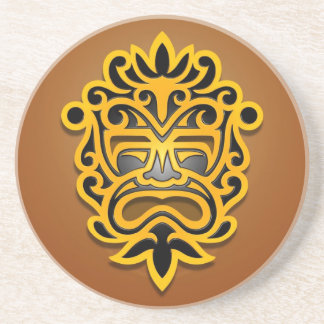 Aztec Mask Design, Yellow and Black Drink Coaster