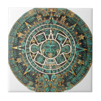 Aztec Mayan Ancient Round Disc Calendar Ceramic Tile