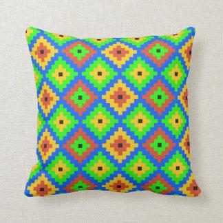 Aztec Mayan Brick Pattern | Green, Blue, Yellow Cushion