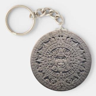 Aztec MAYAN CALENDAR Stone - December 21, 2012 Basic Round Button Key Ring