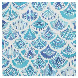 AZTEC MERMAID Tribal Scallop Nautical Pattern Fabric