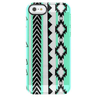 Aztec Mint Green Black And White Clear Case