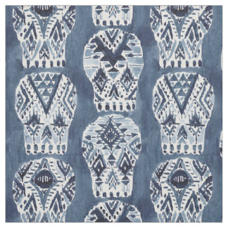 AZTEC MUERTOS Tribal Sugar Skull Pattern Fabric