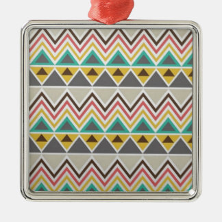 Aztec Native American Tribal Zigzags Design Style Metal Ornament