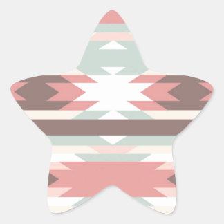 Aztec native pattern multi natural colors modern star sticker