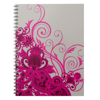 Aztec Paisley bridal planner - fuschia grey Spiral Notebooks