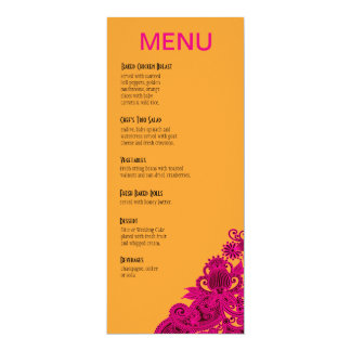 Aztec Paisley Dinner Menu fuschia nectarine 10 Cm X 24 Cm Invitation Card