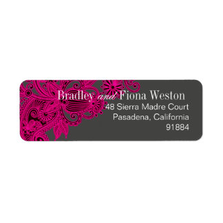 Aztec Paisley - fuschia charcoal Return Address Label