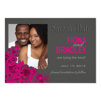 Aztec Paisley Photo Save the Date fuschia Card