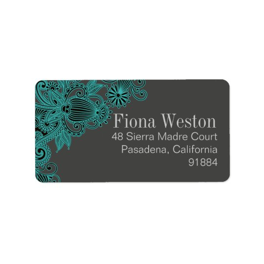 Aztec Paisley - teal grey Address Label