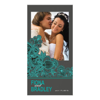 Aztec Paisley Thank You teal charcoal Personalised Photo Card