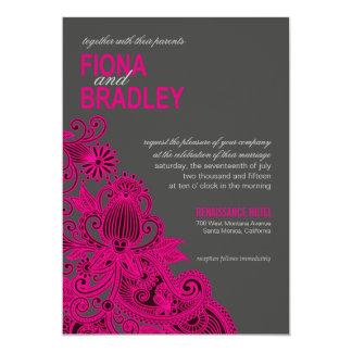 Aztec Paisley Wedding fuschia charcoal Card