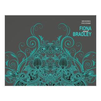 Aztec Paisley Wedding Program - teal charcoal 21.5 Cm X 28 Cm Flyer
