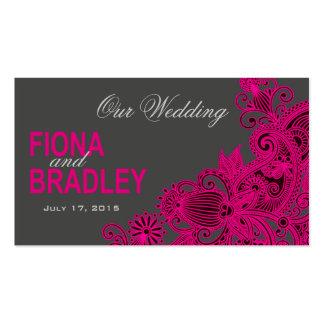 Aztec Paisley Wedding Website - fuschia Business Card Templates