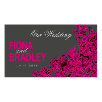 Aztec Paisley Wedding Website - fuschia Business Card