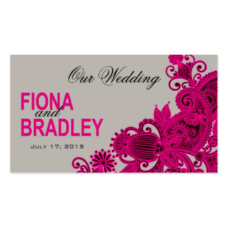 Aztec Paisley Wedding Website fuschia grey Business Cards