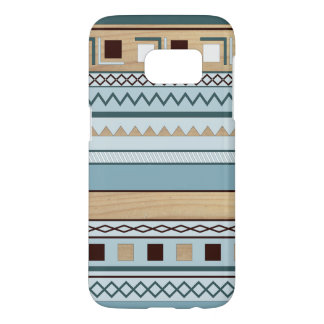 Aztec Pattern in Blue and Wood Grain