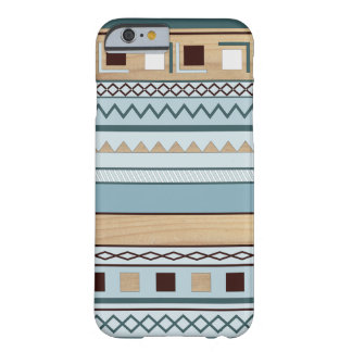 Aztec Pattern in Blue and Wood Grain Barely There iPhone 6 Case