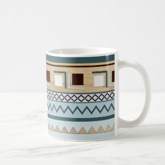 Aztec Pattern in Blue and Wood Grain Coffee Mug