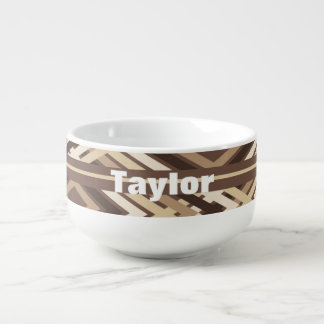 Aztec Pattern in Brown Soup Mug