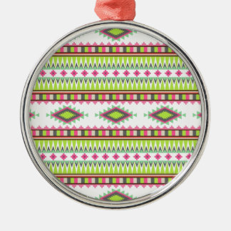 Aztec Pattern Silver-Colored Round Decoration