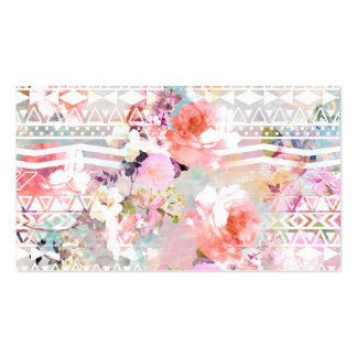 Aztec Pink Teal Watercolor Chic Floral Pattern Pack Of Standard Business Cards