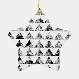 Aztec print black blank Black White Ceramic Star Decoration